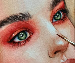 art, girl, and eyes image