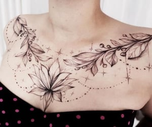 collarbone, flower, and girl image