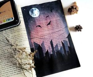 art, city, and moon image