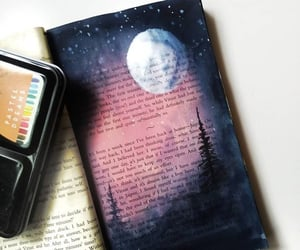 art, moon, and reading image