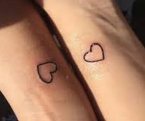 love, hearts, and tattoo image