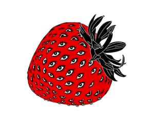 art, strawberry, and witch image
