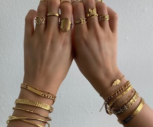 bracelet, girl, and gold image