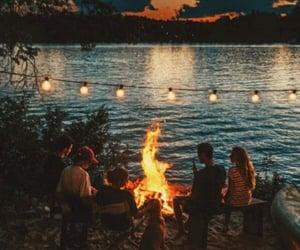 friends, lake, and lights image