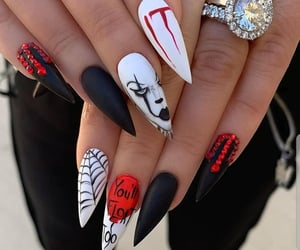 nails, clown, and Halloween image