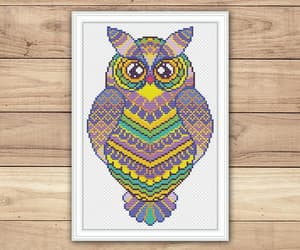 etsy, colorful pattern, and owl cross stitch image