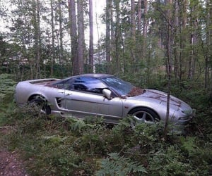 abandoned, eerie, and silver car image