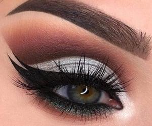 blue eyes, make up, and makeup image