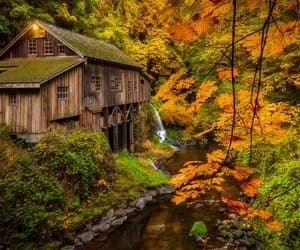 architecture, brook, and cabin image