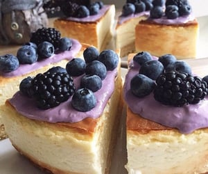 cake, blueberries, and pie image