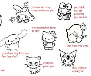 sanrio, goth, and hello kitty image