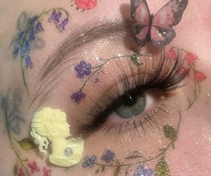 art, flowers, and make up image