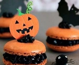 Halloween, macaroons, and pumpkin image