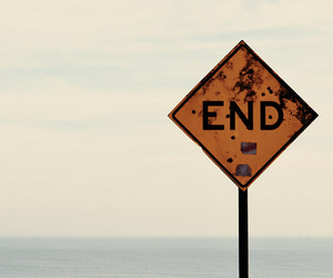 end, black and white, and sign image