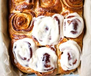 cake, cinnamon rolls, and delicious image