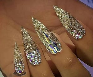 glitter, gold, and long nails image