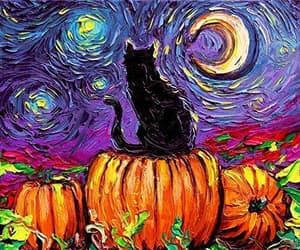 cat, drawing, and pumpkin image