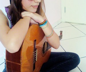 girl, guitar, and glasses image