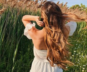 curls, field, and green image