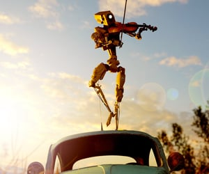 car, fiddle, and dancing image