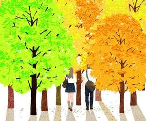 art, autumn, and couple image