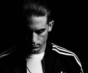 adidas, black and white, and rapper image