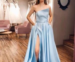 light blue, slit, and strapless image