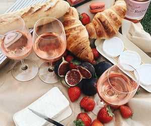 food, wine, and strawberry image