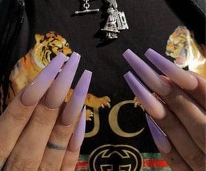 nails, acrylics, and purple image