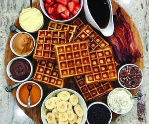 chocolate, waffles, and food image