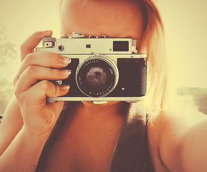 blonde, vintage, and camera image
