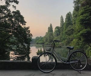 nature, bike, and lake image