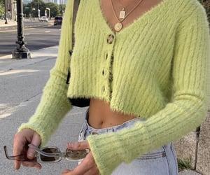 fashion, green, and cardigan image