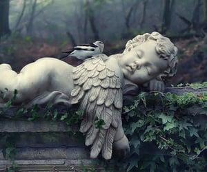 angel, sculpture, and bird image
