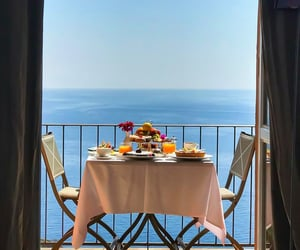 breakfast, sea, and view image