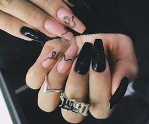 black nails, manicure, and nail art image