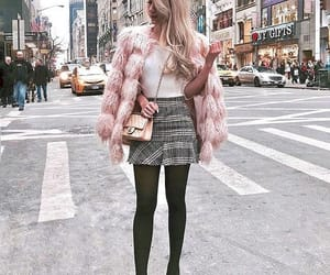 fall fashion, fall outfit, and pink fur image