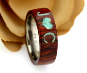 wood wedding band, wood promise ring, and naturalwoodring image