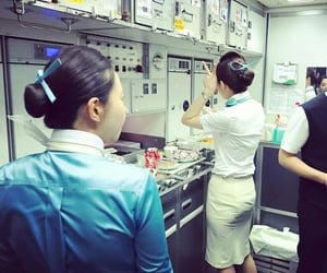 flight attendant, travel, and article image