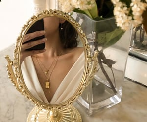 aesthetic, mirror, and gold image