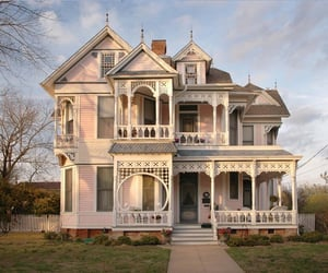 house, pink, and victorian image
