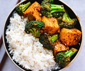 broccoli, food, and rice image