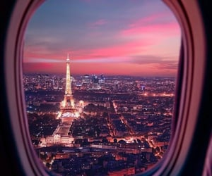 airplane, eiffel tower, and flowers image