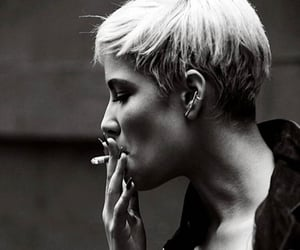 black and white, cigarette, and smoke image