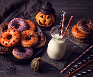 Halloween, donuts, and pumpkin image