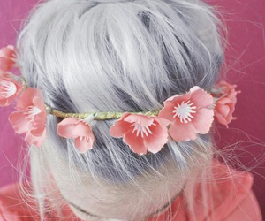 silver hair and cherry blossom head band image