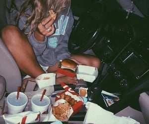 car, couple, and food image