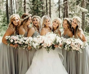 bridesmaids, flowers, and smile image