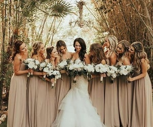 bride, bridesmaids, and dress image