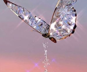 butterfly, diamond, and glitter image